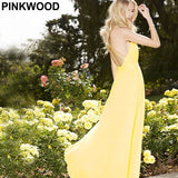 PINKWOOD Designer Party Dresses High Street Brand New Yellow Sexy Deep V Backless Spaghetti Strap Sleeveless Bohemian Maxi Dress - Shopatronics - One Stop Shop. Find the Best Selling Products Online Today