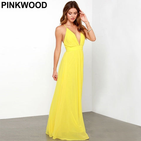 PINKWOOD Designer Party Dresses High Street Brand New Yellow Sexy Deep V Backless Spaghetti Strap Sleeveless Bohemian Maxi Dress - Shopatronics