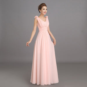 Peachy Pink Bridesmaid Dress Long Chiffon Wedding Party Prom Dresses - Shopatronics