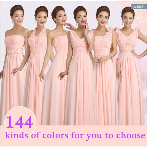 Peachy Pink Bridesmaid Dress Long Chiffon Cheap Winter Wedding Party Prom Dresses Vestido De Festa De Casamento Dama De Honra - Shopatronics - One Stop Shop. Find the Best Selling Products Online Today