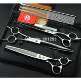 Pet Grooming Scissors Set 8 Inch Professional JP440C Dog Shears Hair Cutting Straight + Curved + Thinning Scissors LZS0378 - Shopatronics