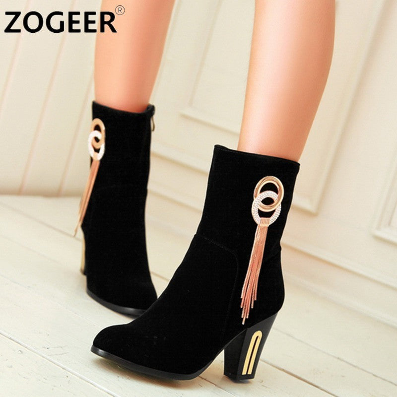 Plus Size 34-43 New 2016 Autumn Spring Sexy Women Boots Round Luxury Tassel Thick High Heel Boot Fashion Black Red Women Shoes - Shopatronics