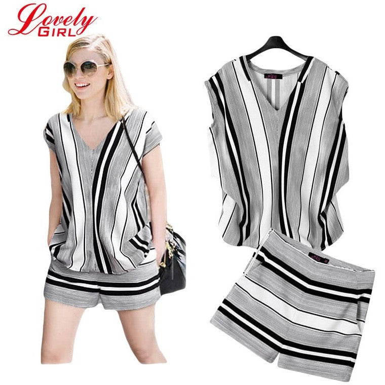 Plus Size XL- 5XL Two Piece Set Women Summer Sets Short Sleeve Striped  Blouse And 0bb9cefc39