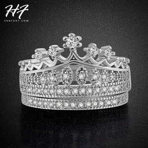 Princess Crown CZ Diamond Wedding Ring Sets Platinum Plated Silver Color Fashion AAA+ Crystal Engagement Jewelry Wholesale R685 - Shopatronics