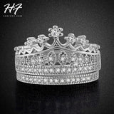 Princess Crown CZ Diamond Wedding Ring Sets Platinum Plated Silver Color Fashion AAA+ Crystal Engagement Jewelry Wholesale R685 - Shopatronics - One Stop Shop. Find the Best Selling Products Online Today