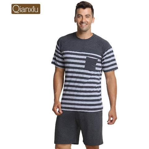 Qianxiu Pajama For Men Summer Modal  Men pajama Set Women Sleepshirts Couples stripes Sleepwear  homewear - Shopatronics - One Stop Shop. Find the Best Selling Products Online Today