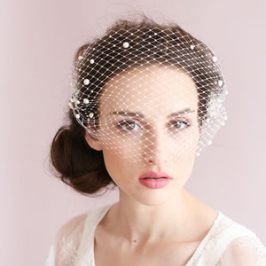 Romantic Birdcage Bridal Face Veil Beaded Wedding Veil With Comb Accessories Ivory Bridal Veil Party Accessories Blusher - Shopatronics