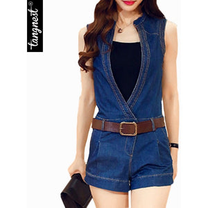 Rompers Womens Jumpsuit 2016 Summer New Style Sexy Hot Denim Deep V-Neck Sleeveless Short Jumpsuits With Sashes WKL570 - Shopatronics