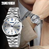 SKMEI Lovers Fashion Casual Quartz Watch For Men And Women Watches Relogio Masculino Silver Stainless Steel Mens Wristwatches - Shopatronics