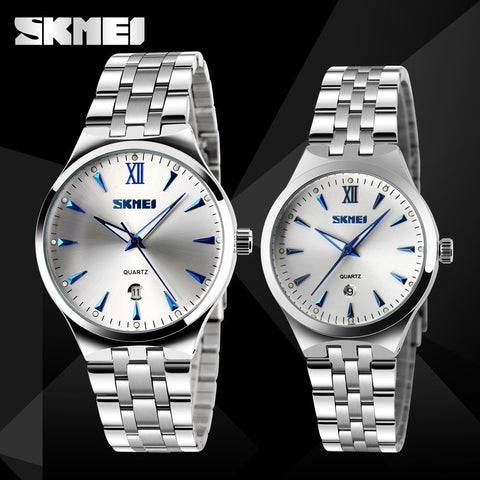 SKMEI Lovers Fashion Casual Quartz Watch For Men And Women Watches Relogio Masculino Silver Stainless Steel Mens Wristwatches - Shopatronics - One Stop Shop. Find the Best Selling Products Online Today