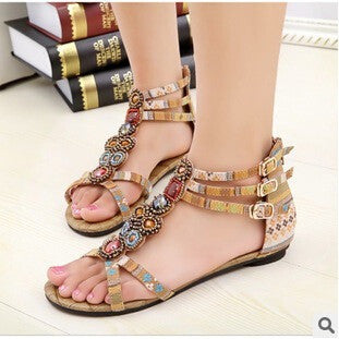 Flat Sandals Ankle T-strap Fashion Sandals Flat Beaded - Shopatronics
