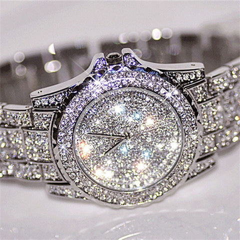 Sanwony Silver Luxury Women Watch Rhinestone Ceramic Crystal Quartz Watches Lady Dress Watch - Shopatronics