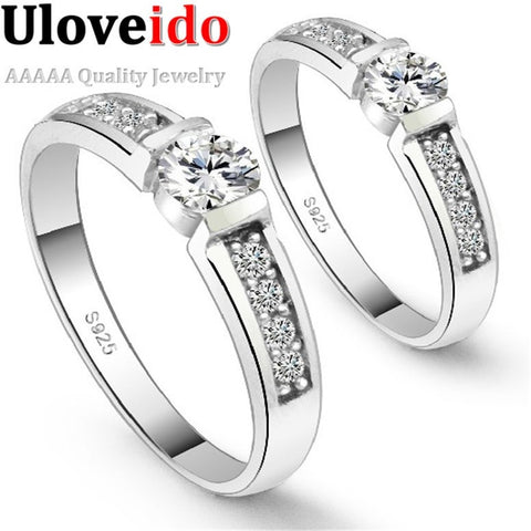 Silver Plated 2 Pcs Engagement Ring Wedding Ring Set Women Men Jewelry Cubic Zirconia aliancas de casamento Wholesale Ulove J292 - Shopatronics