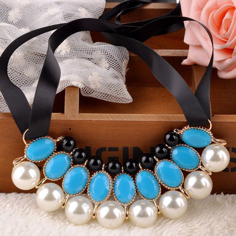Simulated pearl necklace Vintage Choker Collar Ribbon Bead Rhinestone Pendants Chain Statement Necklaces For Women Jewelry Gifts - Shopatronics