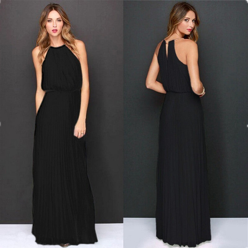 Summer Women Sexy Long Party Dresses 2016 Sleeveless Elegant Casual Pleated Chiffon Maxi Dress Vestido de festa New Plus Size - Shopatronics - One Stop Shop. Find the Best Selling Products Online Today