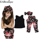 Summer style Girls Fashion floral casual suit children clothing set sleeveless outfit +headband 2015 summer new kids clothes set - Shopatronics