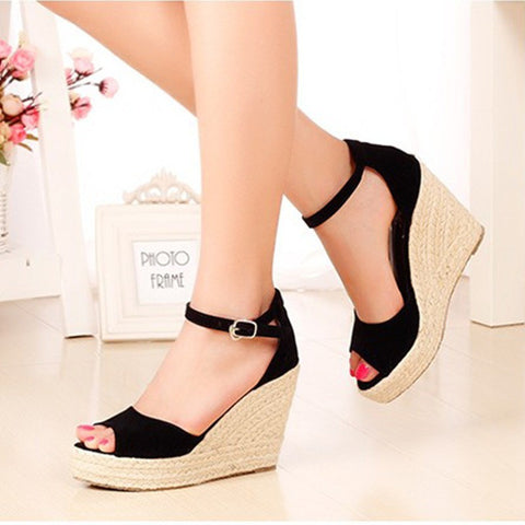 Superior Qality Summer style comfortable Bohemian Wedges Women sandals for  Lady shoes high platform open toe da2f2b794b32