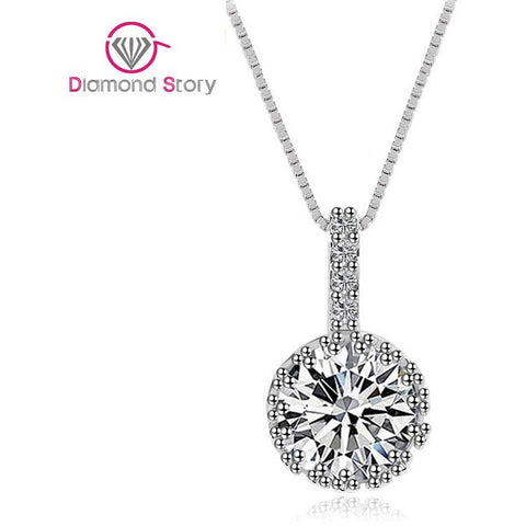 Teemi Brand Choker Necklace Hearts & Arrows 1.5 Carat Round Zircon Pendant Chain Necklace Platinum Plated Wholesale - Shopatronics