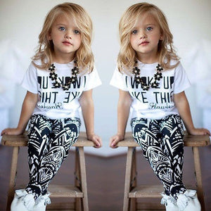 Toddler Kids Baby Girls Outfit Clothes T-shirt Tops+Long Pants Trousers 2PCS Set - Shopatronics