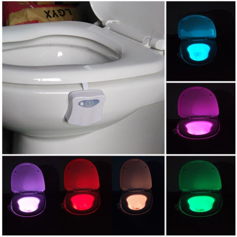 Toilet Nightlight 8 color Toilet Lamp hanging lamp PIR LED Motion Activated Nightlight Hotel Bathroom Toilet Led Light Sensor - Shopatronics