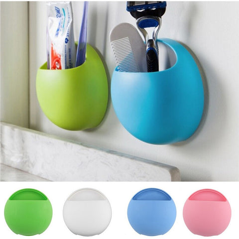 Toothbrush Holder Bathroom Kitchen Family Toothbrush Suction Cups Holder Wall Stand Hook Cups Organizer - Shopatronics