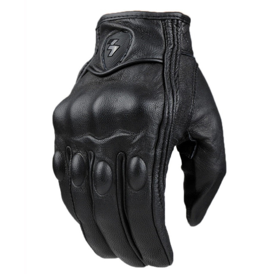 Top Guantes Fashion Glove real Leather Full Finger Black moto men Motorcycle Gloves Motorcycle Protective Gears Motocross Glove - Shopatronics