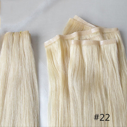 True Skin Weft PU Russian Cuticle Remy Human Hair Extensions Black Brown Blonde Hand Tied Straight