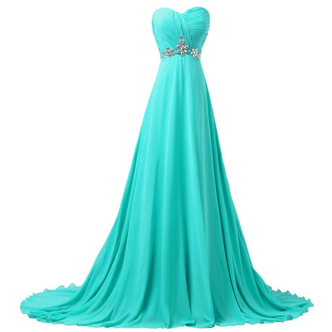 Turquoise Long Bridesmaid Dresses 2016 Grace Karin A-line Sweetheart Women Beaded Formal Wedding Party Gowns 6290 - Shopatronics