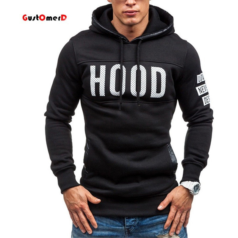US size New 2016 Fashion Men Sweatershirt Sport Hoodies Casual Letter Printing Skinny Fit Hoody Homme Pullover Hoodies Men - Shopatronics