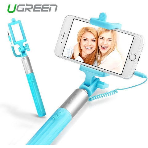 Ugreen Universal Selfi Stick Wired Extendable Handheld Monopod Tripod Holder For Iphone 6 6s 6s plus Samsung Galaxy Palo Selfie - Shopatronics
