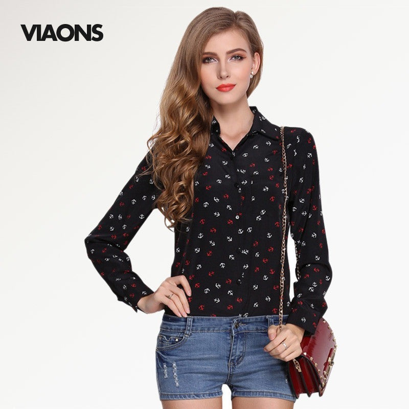 [VIAONS] 2016 Fashion Women Printing Blusas Long Sleeve Shirt Novelty Women Tops Chiffon Blouse WE019 - Shopatronics
