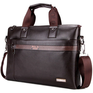 VICUNA POLO Promotion Simple Dot Famous Brand Business Men Briefcase Bag Luxury Leather Laptop Bag Man Shoulder Bag bolsa maleta - Shopatronics