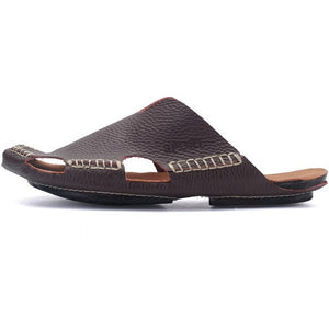 New Men Genuine Leather Beach Shoes Flip Flops Casual Shoes Men's Sandals Summer Slippers Gladiator Heels For MEN - Shopatronics