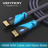 Vention HDMI Cable 1m  2m 3m 5m Male to Male Gold Plated HDMI 1.4V 1080P 3D for PS3 projector HD LCD Apple TV computer cable - Shopatronics