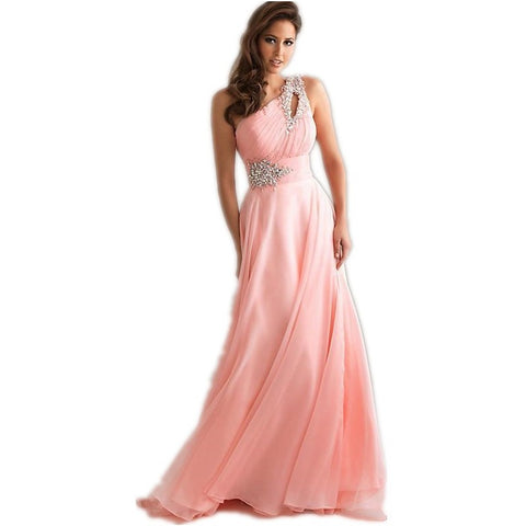 Vestido De Festa Longo Pink Formal Long Evening Dresses 2016 New Arrival One  Shoulder Chiffon Robe 68f151b5737b
