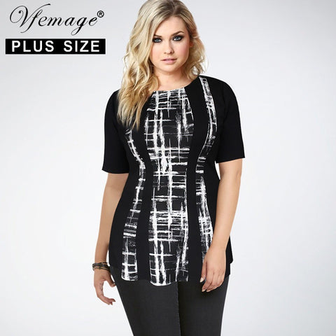 Vfemage (Plus Size) Women Summer Elegant Optical Illusion Slimming Contrast Casual Work Office Party 5XL 6XL 7XL Top Blouse 2573 - Shopatronics