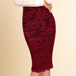 Vfemage Women Elegant Floral Lace High Waist Wear to Work Office Party Bodycon Fitted Skirt 1838 - Shopatronics