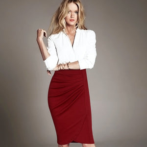 Vfemage Women Elegant Vintage Pleated Frill Ruched High Waist Business Casual Wear To Work Office Party Pencil Sheath Skirt 2220 - Shopatronics
