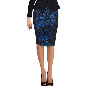 Vfemage Womens Elegant Work Business Casual Print Slim Stretch Fitted Bodycon Knee Length High Waist Pencil Skirt 006 - Shopatronics