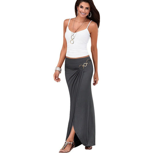 Vfemage Womens Summer Elegant Vintage Ruched Draped Asymmetric Metal Ring High Waist Casual Party Beach Fitted Long Skirt 2699 - Shopatronics