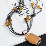 Viennois Fashion Women Long Necklace Black cotton Wax Rope Orange & Blue & Grey Crystal Rhinestone Necklace & Pendant - Shopatronics - One Stop Shop. Find the Best Selling Products Online Today