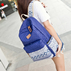 Vintage Girl School Bags For Teenagers Cute Dot Printing Canvas Women Backpack Mochila Feminina Casual Bag School Backpack - Shopatronics