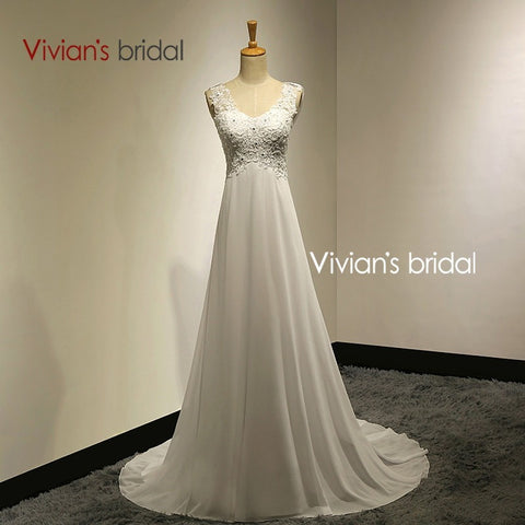 Vivians Bridal Summer Sexy Lace Appliques Chiffon Beach Wedding Dress 2015 Boho Cheap Robe De Mariage Bridal Gown Casamento VB10 - Shopatronics - One Stop Shop. Find the Best Selling Products Online Today