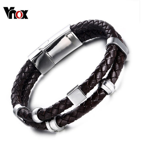 Vnox Brown Genuine Leather Cuff Bracelet Men Jewelry Casual Handmade Woven Male Bracelets & Bangles Jewelry - Shopatronics