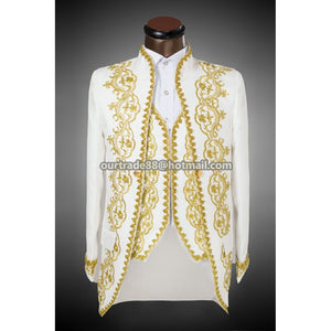 Vogue Palace style Gold embroidery men Tuxedos Classic Groomsmen Men Wedding Suit(Jacket+Pants+vest) white black actual pictures - Shopatronics