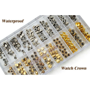 Waterproof Watch Crown Parts Replacement Assorted Gold & Silver Dome Flat Head Watch Accessories Repair Tool Kit for Watchmaker - Shopatronics