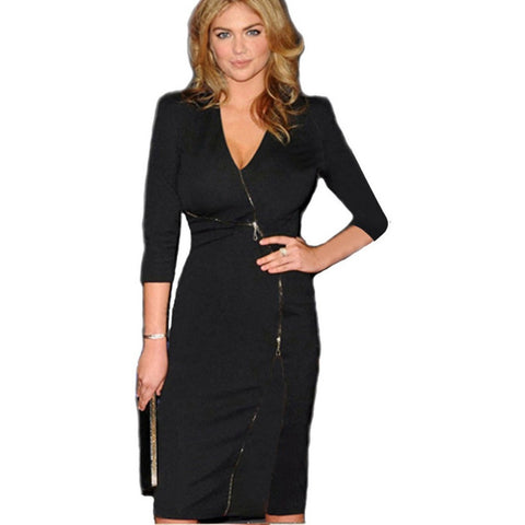 Women Celibrity Elegant Zip Stretch Tunic V-neck Business Wear To Work Party Cocktail Sheath Bodycon Pencil Dresses - Shopatronics
