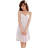Women Lace Suspender Sleepwear Robes Girl Imitation Silk Night Dress - Shopatronics