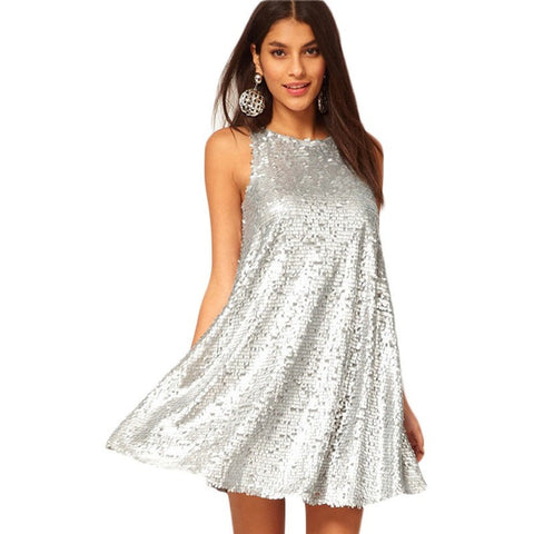 Women Vestidos Sex & Club Fashion Female Silver Color Sleeveless O-neck Casual A-Line Party Dress - Shopatronics