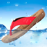 Women's Wedges Flip Flops Ladies Beach Shoes Cowhide Slippers Cow Muscle Outsole Summer 2015 Sandals For Women Size:35-39 Red - Shopatronics